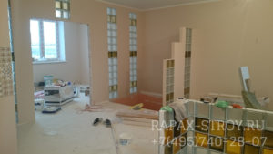 Фото 2. Ремонт трехкомнатной квартиры 90 кв.м. Звенигород - стекло-блоки