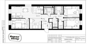 дизайн-проект 3 комнатной квартиры с мебелью